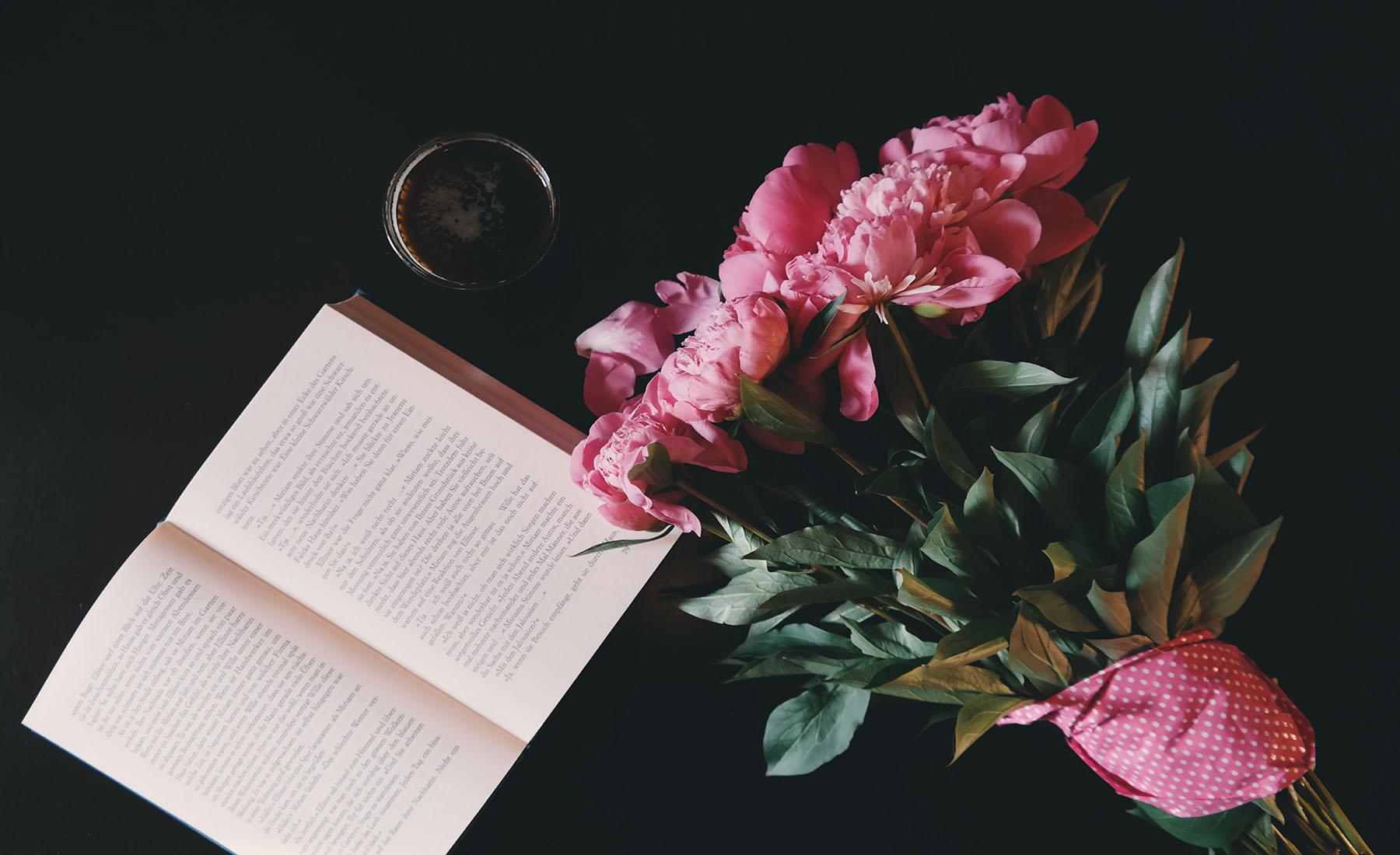 roses, flowers, book,